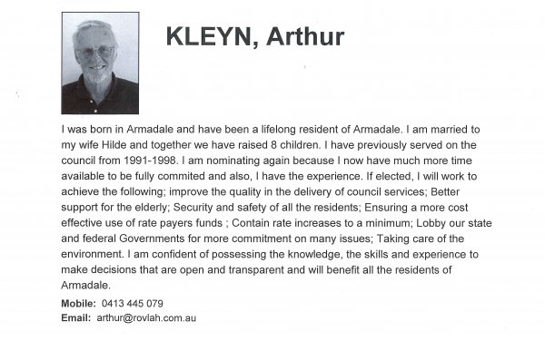 Arthur Kleyn, Heron ward
