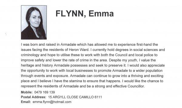 Emma Flynn, Heron ward