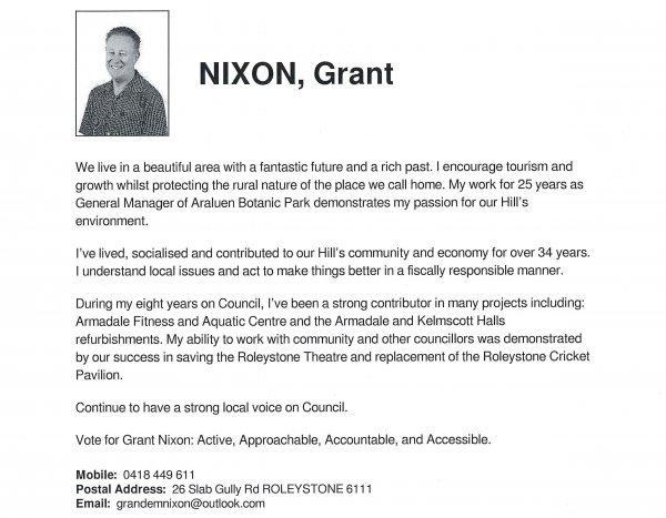 Grant Nixon, Hills ward