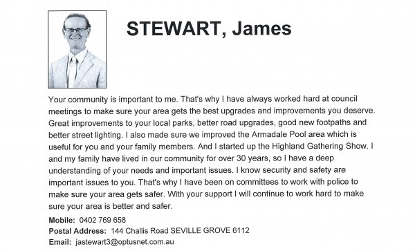 James Stewart, Heron ward