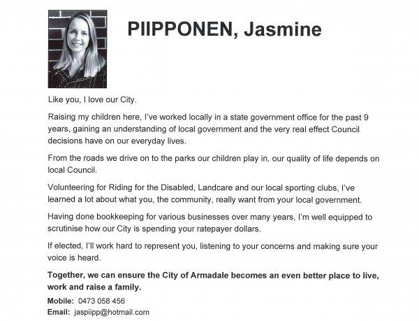 Jasmine Piipponen - Ranford ward