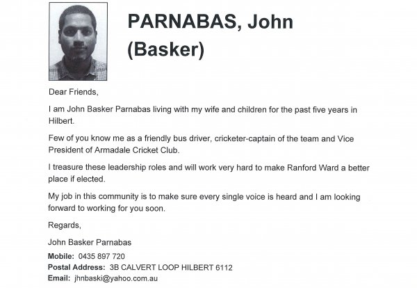 John Parnabas - Ranford ward
