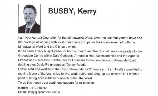Kerry Busby - Minnawarra ward