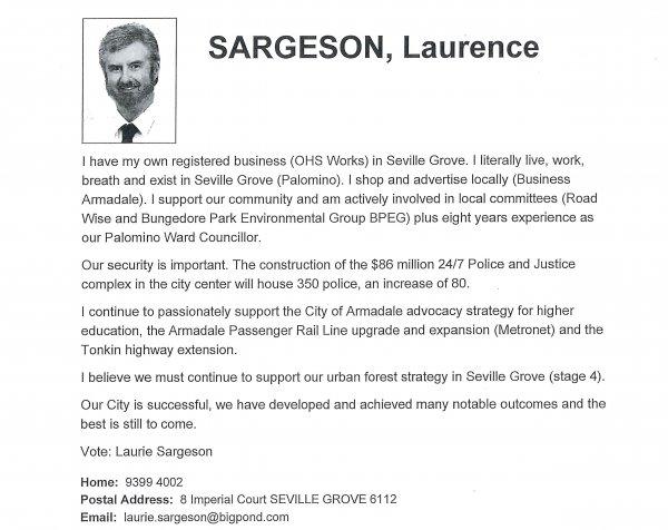 Laurence Sargeson - Palomino ward