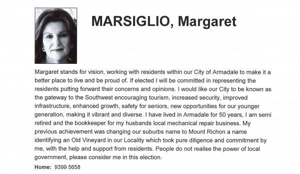 Margaret Marsiglio - Minnawarra ward