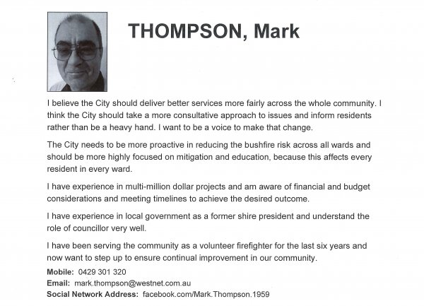 Mark Thompson, Hills ward