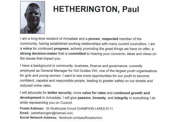 Paul Hetherington - Palomino ward