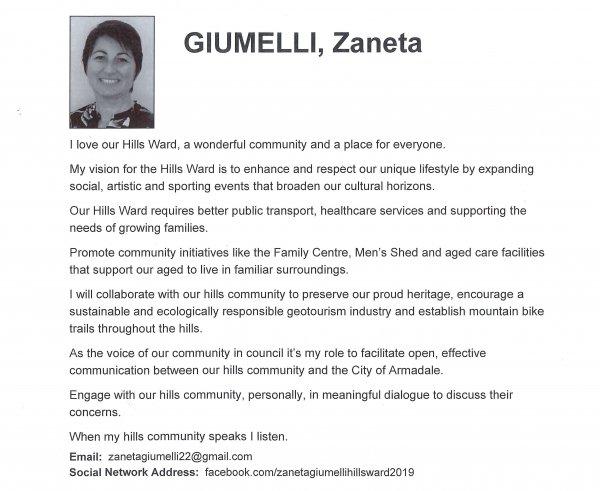 Zaneta Giumelli, Hills ward