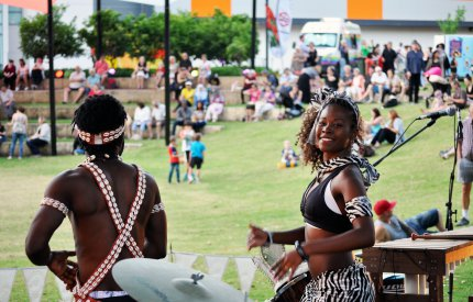 Picture of African musicians from the group Village Vibes playing to a crowd at a City of Armadale Hawkers Market