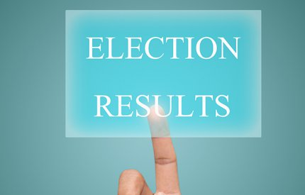 Sign displaying a finger pointing to election 2021 Results