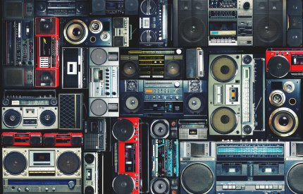 an image of many stereos