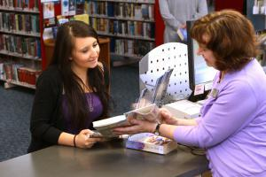 Check in/check out library books