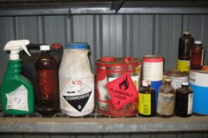 Chemical shed containing household hazardous waste