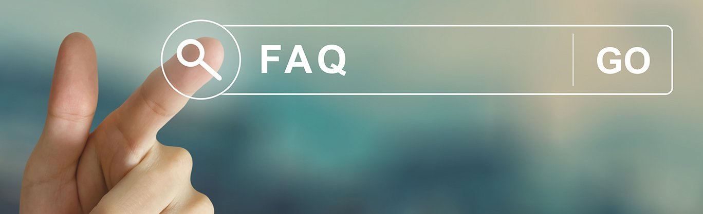 Image with a finger selecting a magnifying glass that reads FAQ