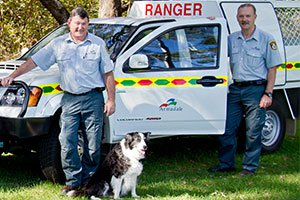 Rangers with car and dog