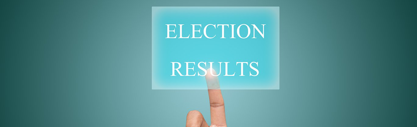 Sign displaying a finger pointing to election 2019 Results